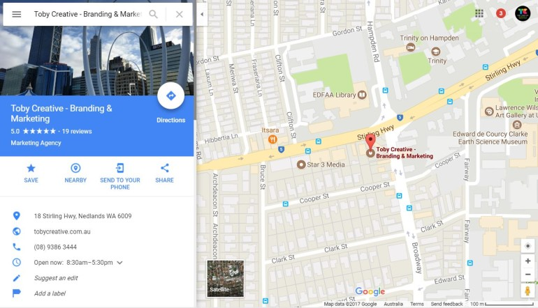 Google Map Listing on Local Map Search for Toby Creative - Branding & Marketing Perth