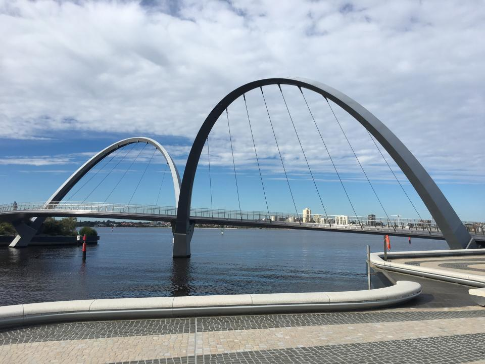 Perth Elizabeth Quay Double Arch Suspension Bridge