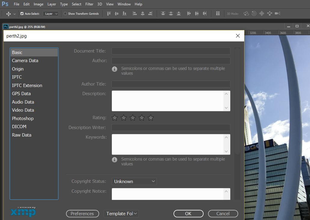 Using Adobe Photoshop for a selected image: File -> File Info, you can add additional image meta data for SEO purposes.