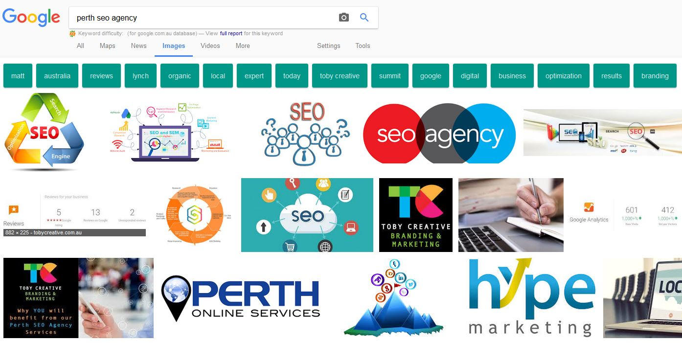 Google Search Results by type 'Image' for query 'Perth SEO Company' show four results for Toby Creative.