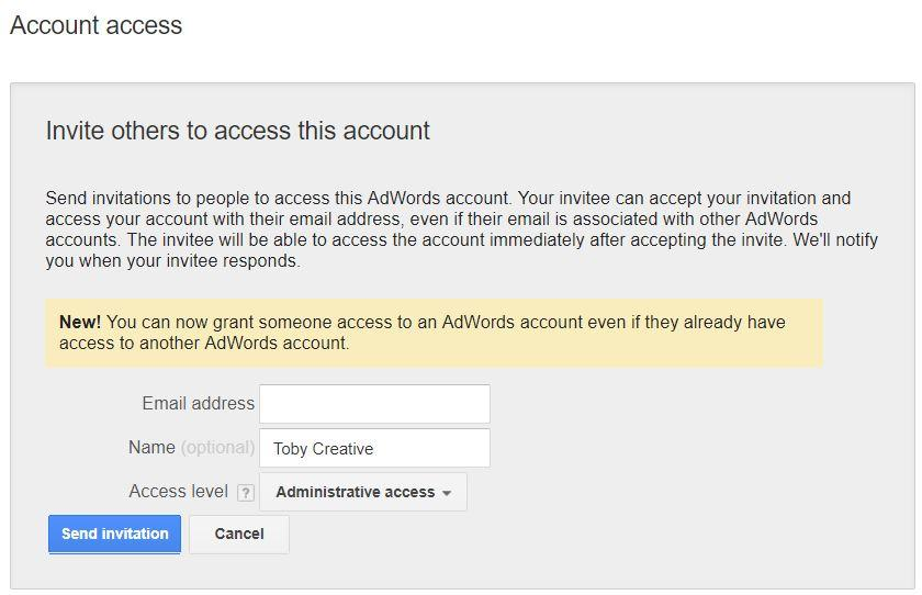Invite others to access your Google Adwords account by adding an additional user