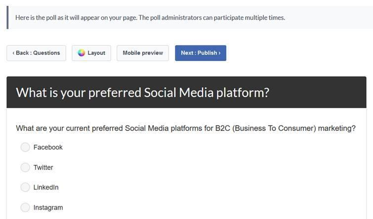 Facebook App - My Polls - Preferred Social Media Platform